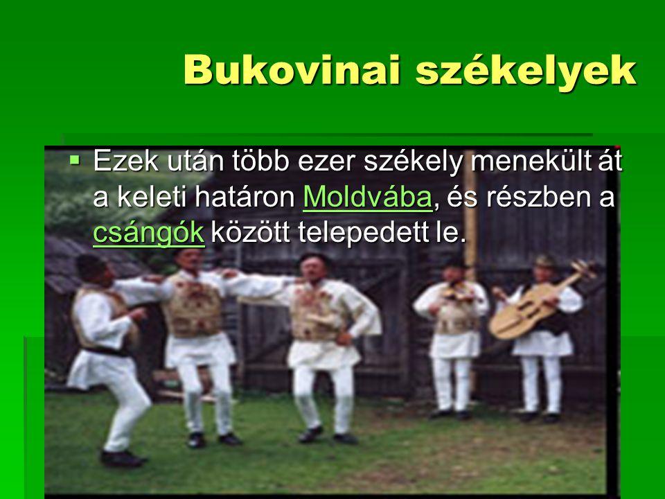 Bukovinai székelyek Ezek után több ezer székely menekült át a keleti határon Moldvába, és részben a csángók között telepedett le.