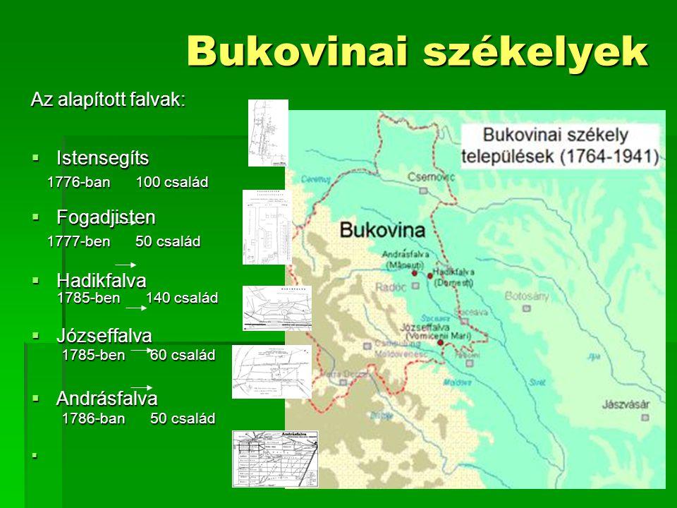 Bukovinai székelyek Az alapított falvak: Istensegíts