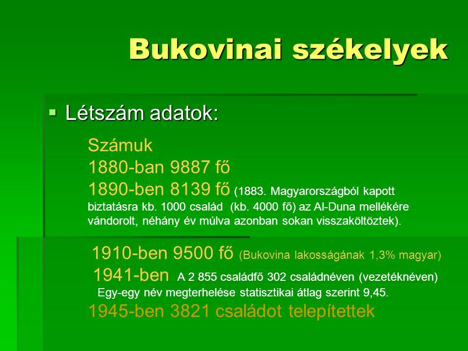 Bukovinai székelyek Létszám adatok: Számuk 1880-ban 9887 fő