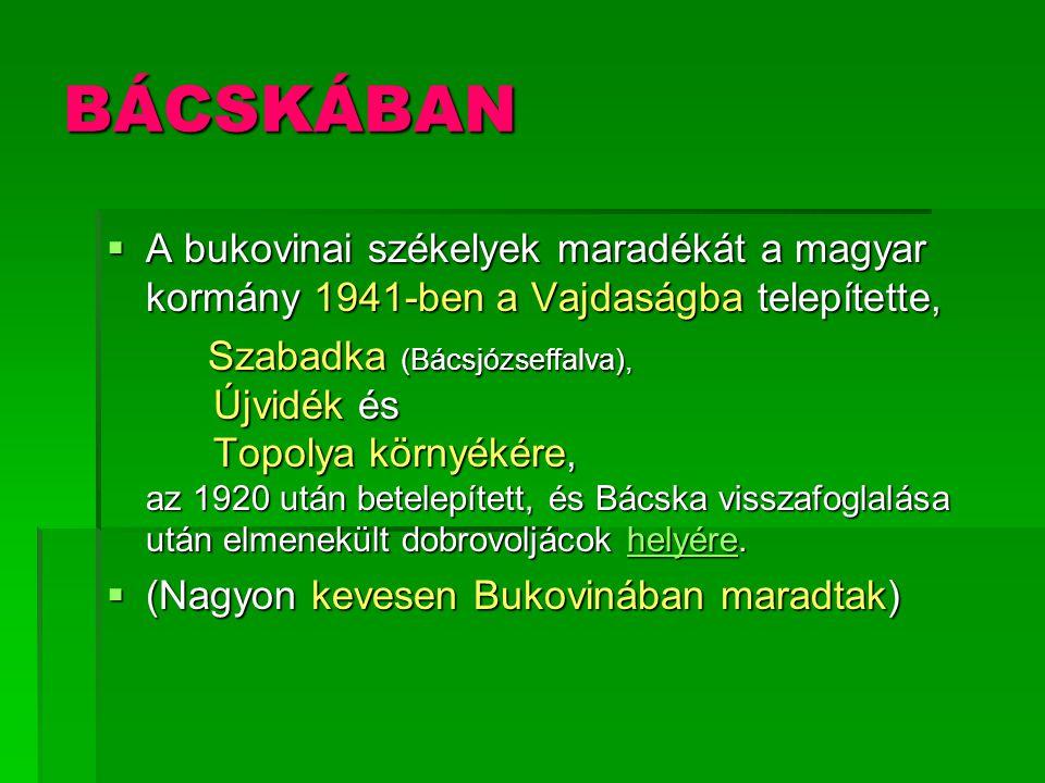 BÁCSKÁBAN A bukovinai székelyek maradékát a magyar kormány 1941-ben a Vajdaságba telepítette,