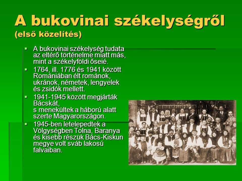 A bukovinai székelységről (első közelítés)