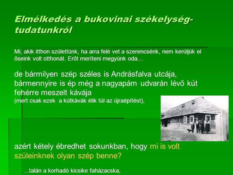 Elmélkedés a bukovinai székelység-tudatunkról