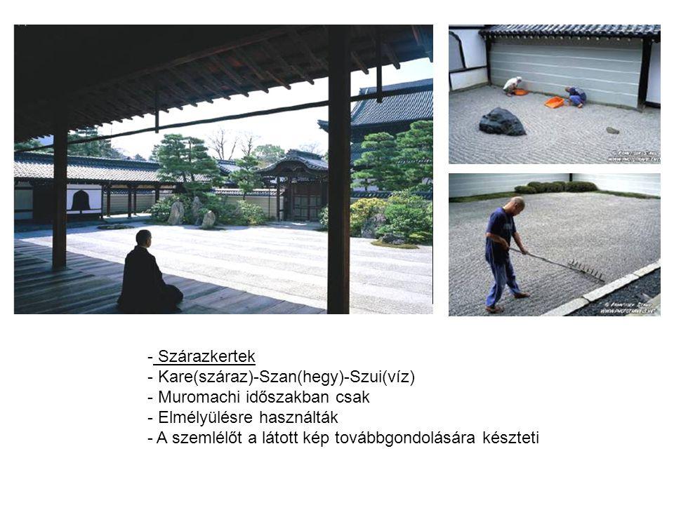 Szárazkertek Kare(száraz)-Szan(hegy)-Szui(víz) Muromachi időszakban csak. Elmélyülésre használták.