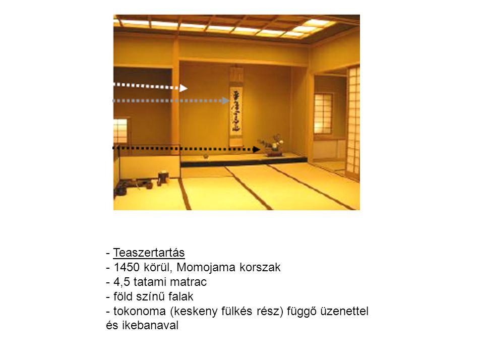 Teaszertartás 1450 körül, Momojama korszak. 4,5 tatami matrac.