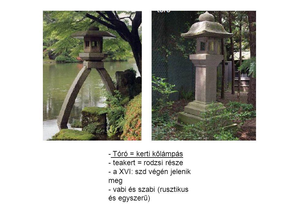 Tóró = kerti kőlámpás teakert = rodzsi része. a XVI: szd végén jelenik meg.