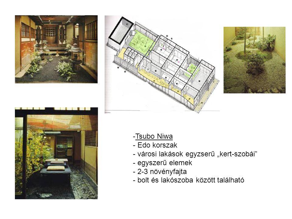 """Tsubo Niwa Edo korszak. városi lakások egyzserű """"kert-szobái egyszerű elemek."""