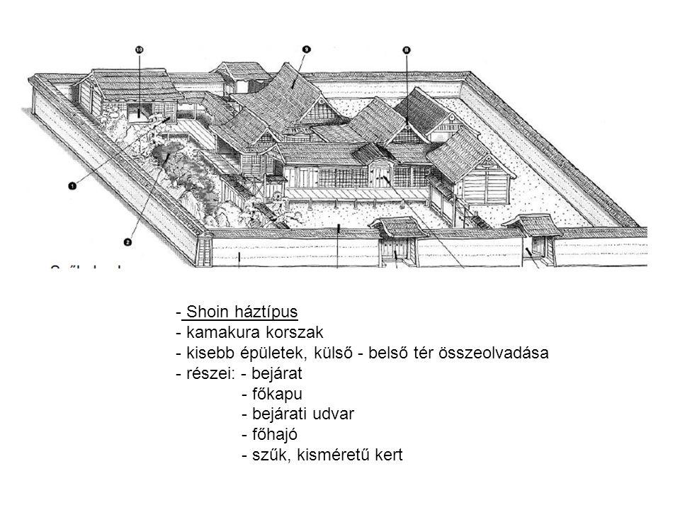 Shoin háztípus kamakura korszak. kisebb épületek, külső - belső tér összeolvadása. részei: - bejárat.