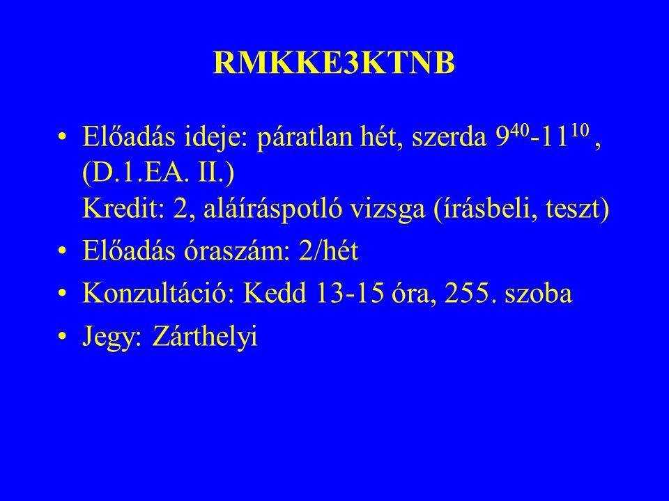 RMKKE3KTNB Előadás ideje: páratlan hét, szerda 940-1110 , (D.1.EA. II.) Kredit: 2, aláíráspotló vizsga (írásbeli, teszt)
