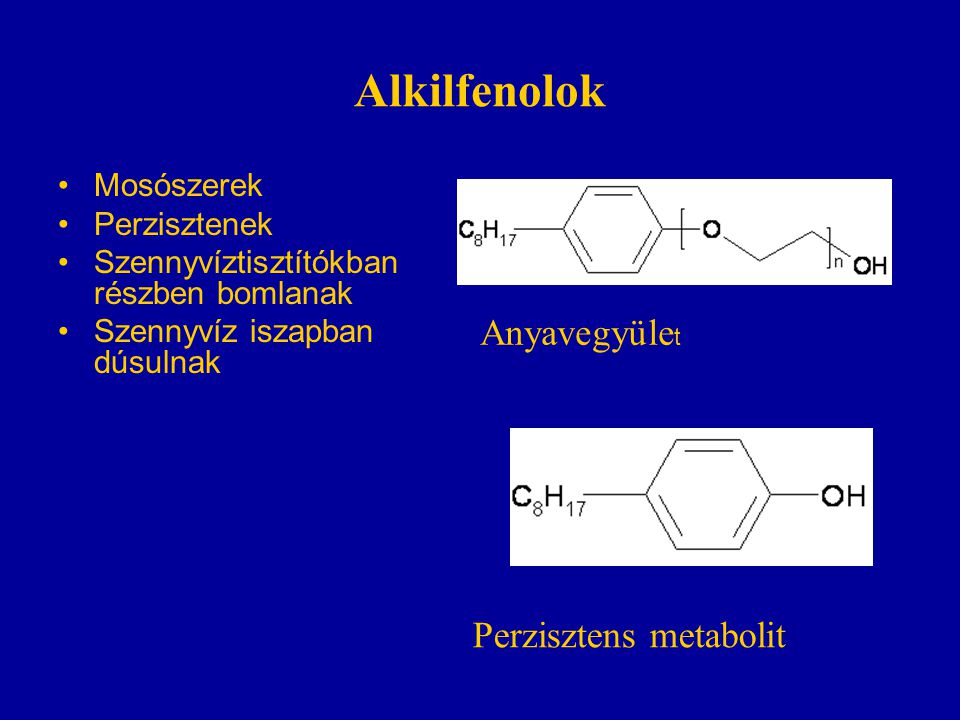 Alkilfenolok Anyavegyület Perzisztens metabolit Mosószerek