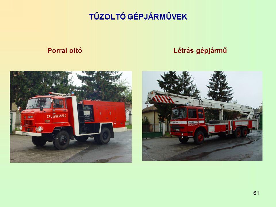 TŰZOLTÓ GÉPJÁRMŰVEK Porral oltó Létrás gépjármű