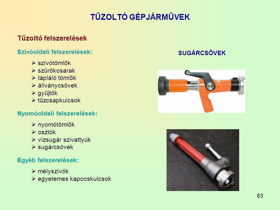 TŰZOLTÓ GÉPJÁRMŰVEK Tűzoltó felszerelések Szívóoldali felszerelések: