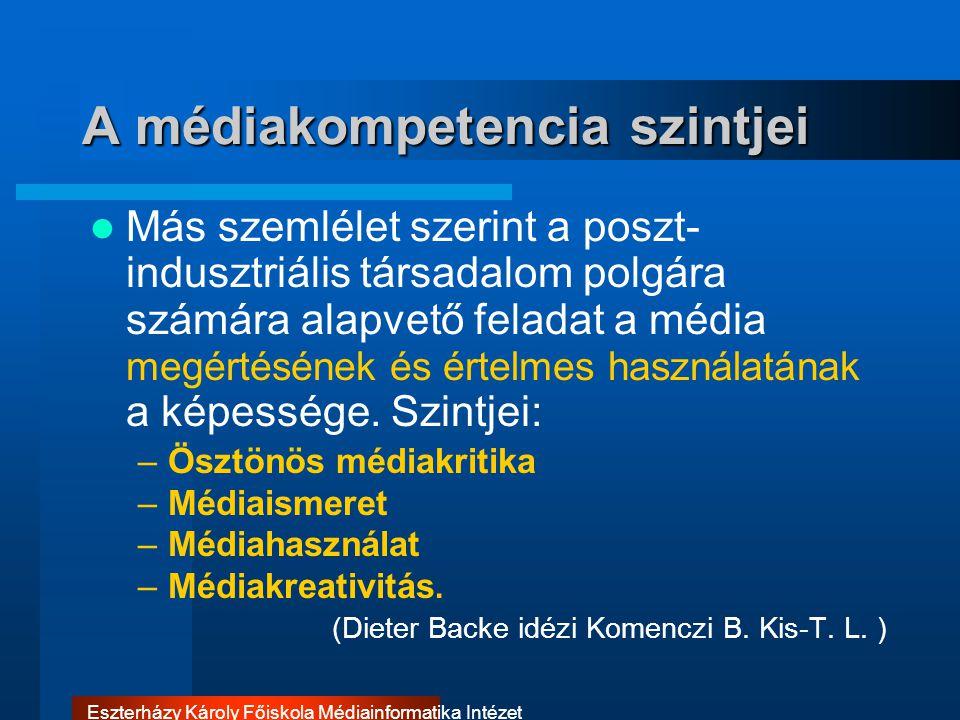 A médiakompetencia szintjei