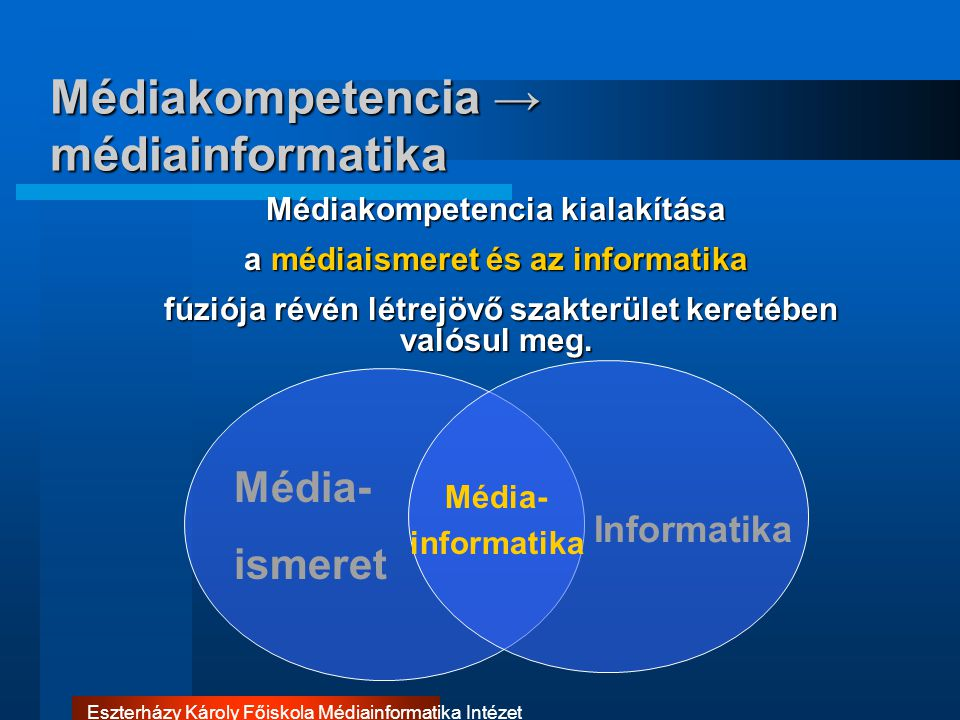 Médiakompetencia → médiainformatika