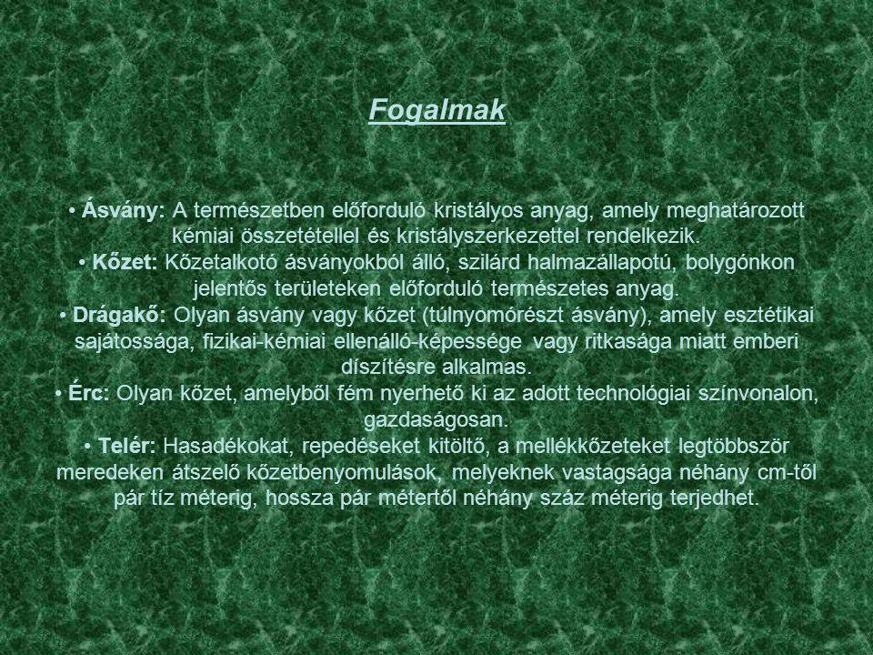 Fogalmak • Ásvány: A természetben előforduló kristályos anyag, amely meghatározott kémiai összetétellel és kristályszerkezettel rendelkezik.