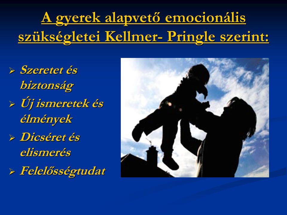 A gyerek alapvető emocionális szükségletei Kellmer- Pringle szerint: