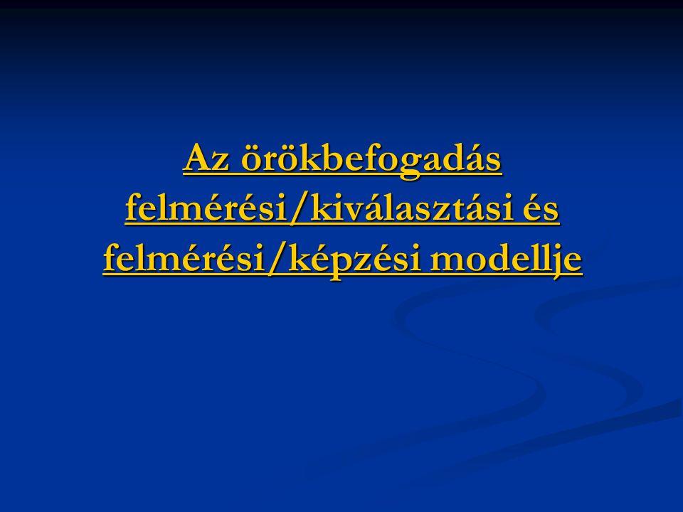 Az örökbefogadás felmérési/kiválasztási és felmérési/képzési modellje