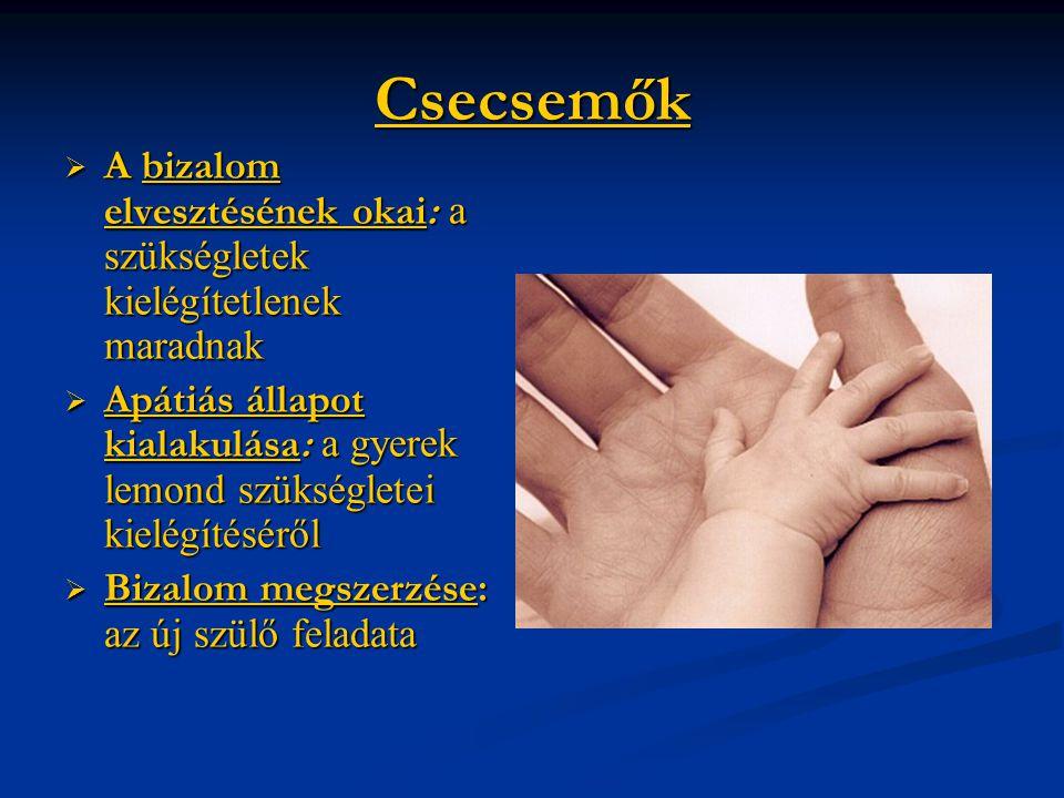 Csecsemők A bizalom elvesztésének okai: a szükségletek kielégítetlenek maradnak.