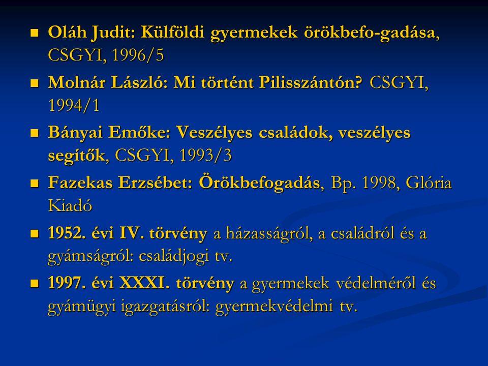 Oláh Judit: Külföldi gyermekek örökbefo-gadása, CSGYI, 1996/5