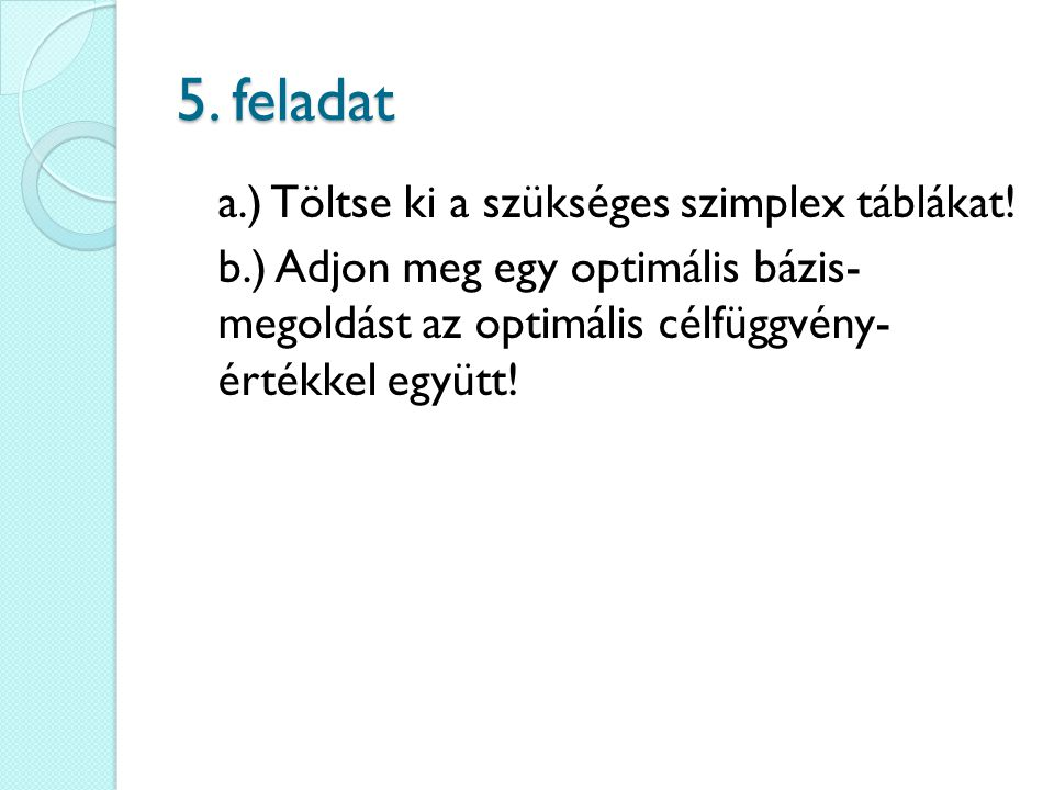 5. feladat a.) Töltse ki a szükséges szimplex táblákat.