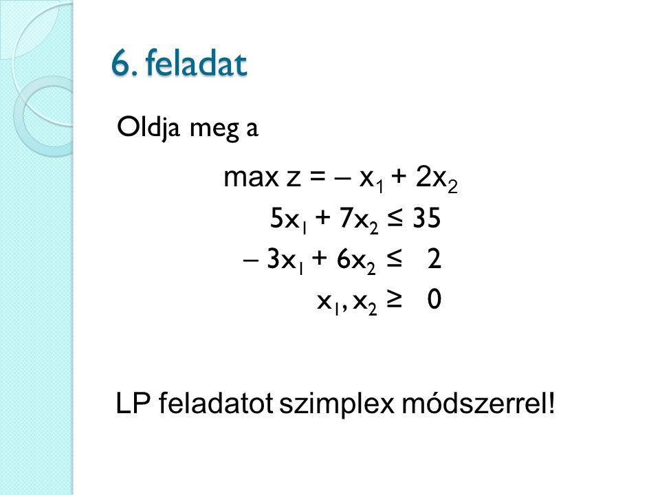 6. feladat Oldja meg a max z = – x1 + 2x2 5x1 + 7x2 ≤ 35