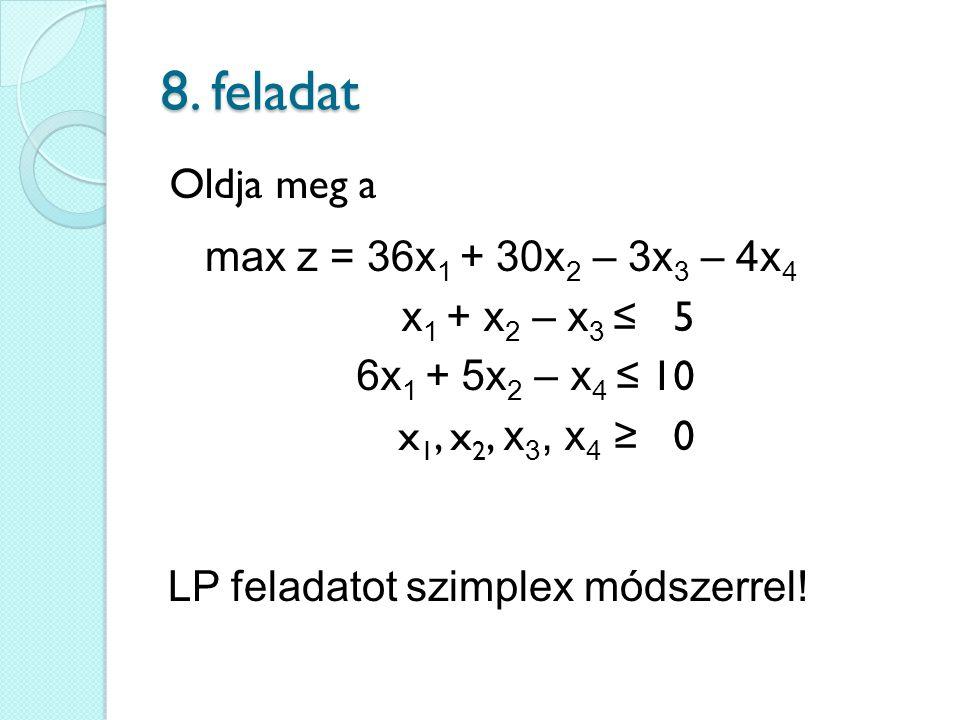 8. feladat Oldja meg a max z = 36x1 + 30x2 – 3x3 – 4x4