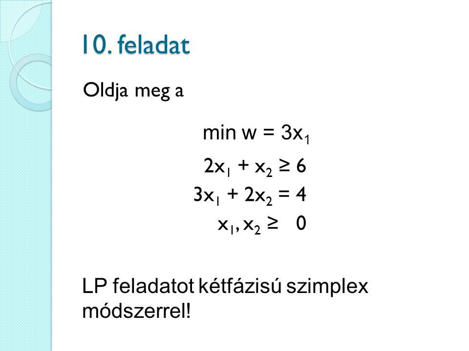 10. feladat Oldja meg a min w = 3x1 2x1 + x2 ≥ 6 3x1 + 2x2 = 4