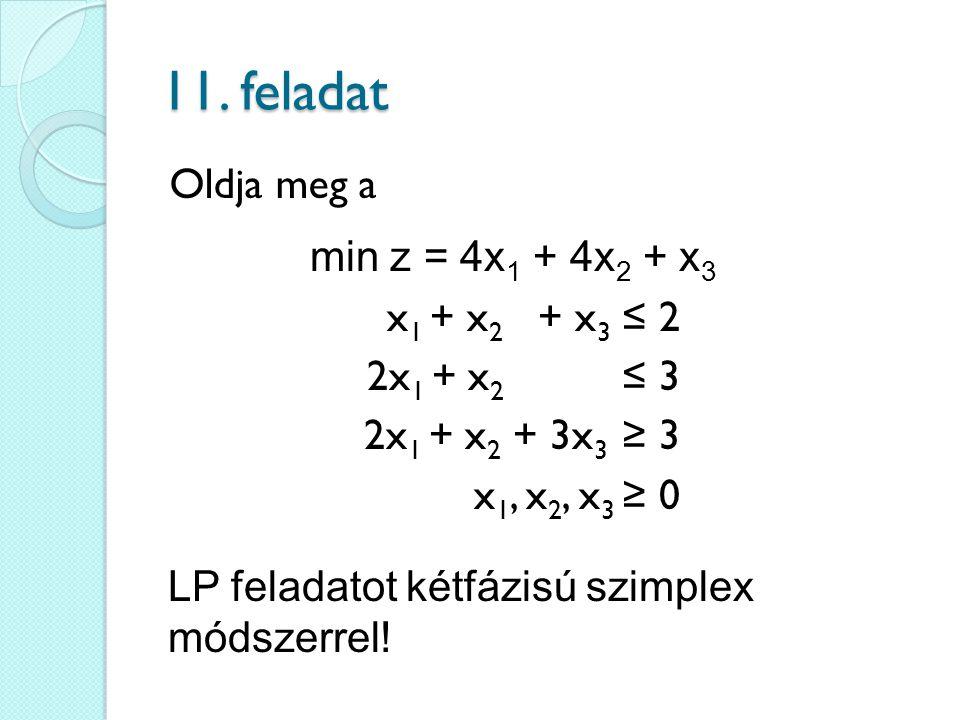 11. feladat Oldja meg a min z = 4x1 + 4x2 + x3