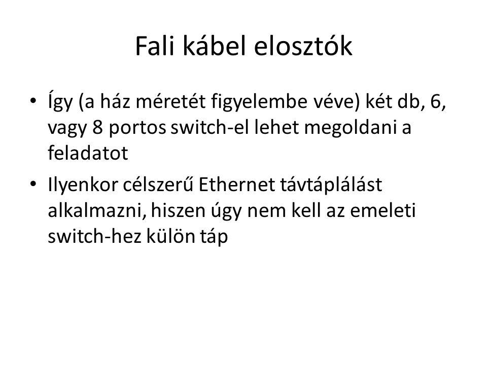 Fali kábel elosztók Így (a ház méretét figyelembe véve) két db, 6, vagy 8 portos switch-el lehet megoldani a feladatot.