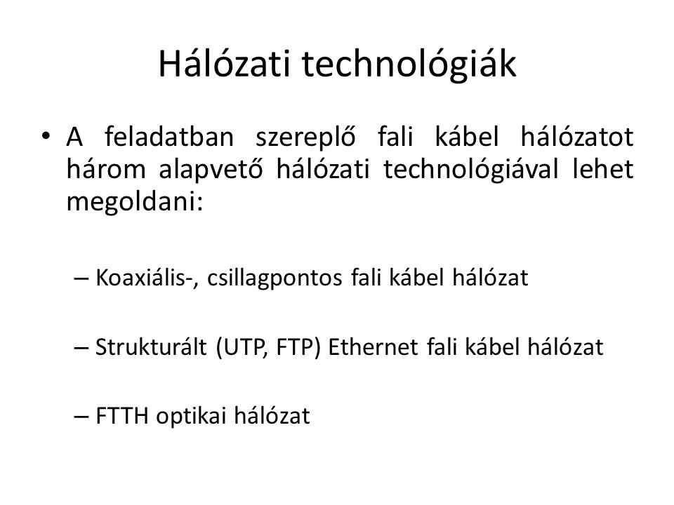 Hálózati technológiák