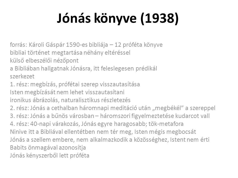 Jónás könyve (1938) forrás: Károli Gáspár 1590-es bibliája – 12 próféta könyve. bibliai történet megtartása néhány eltéréssel.