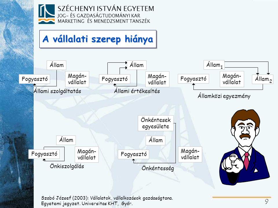 Koordinációs intézmények: PIAC és SZERVEZET