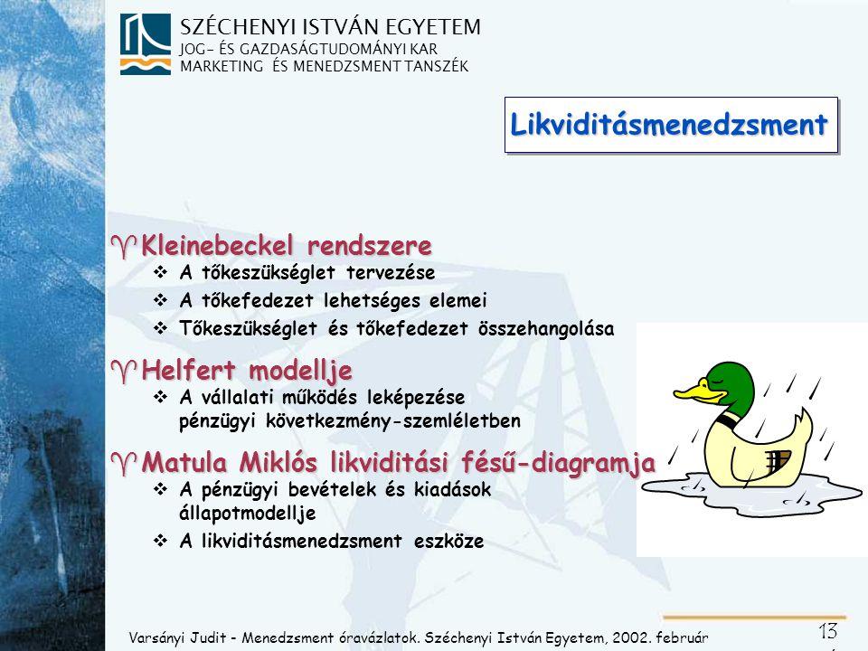 Kleinebeckel pénzügyi tervmérlege
