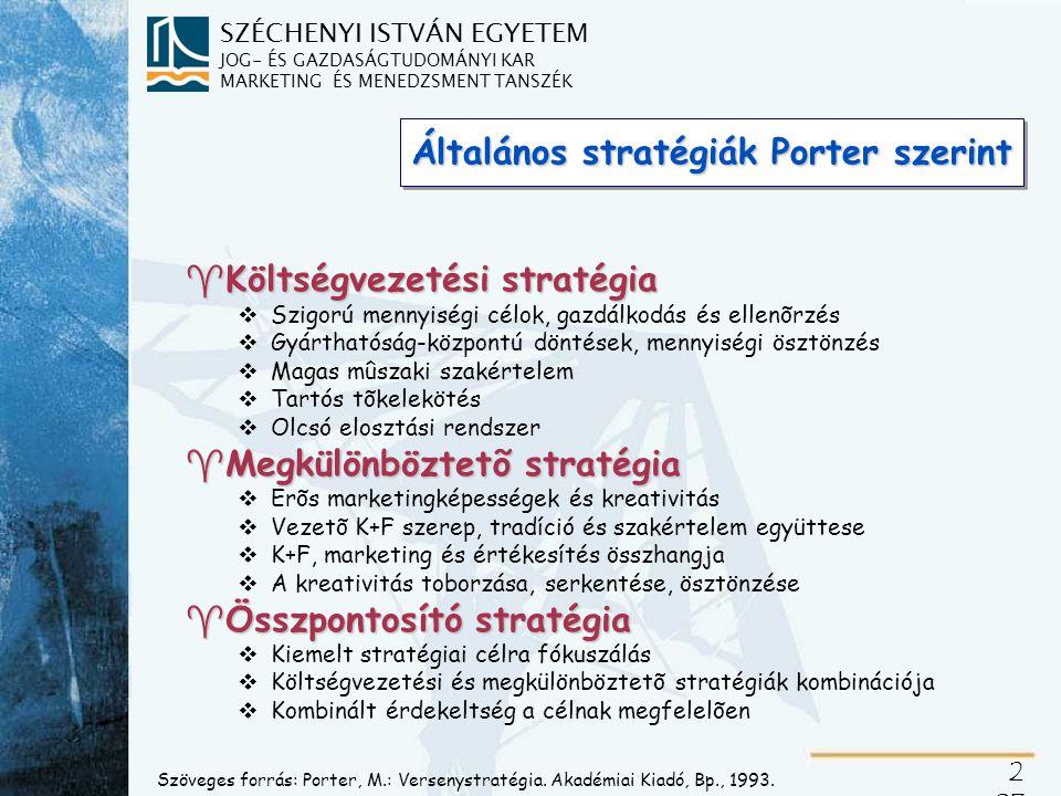 A versenystratégia dimenziói adott iparágban versengő vállalatok stratégiai lehetőségeinek megkülönböztetésére
