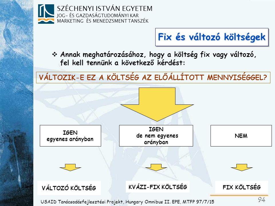 Fixköltségek A fixköltség nem változik az előállított mennyiséggel