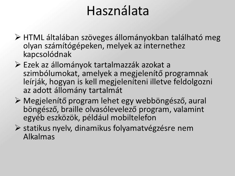 Használata HTML általában szöveges állományokban található meg olyan számítógépeken, melyek az internethez kapcsolódnak.