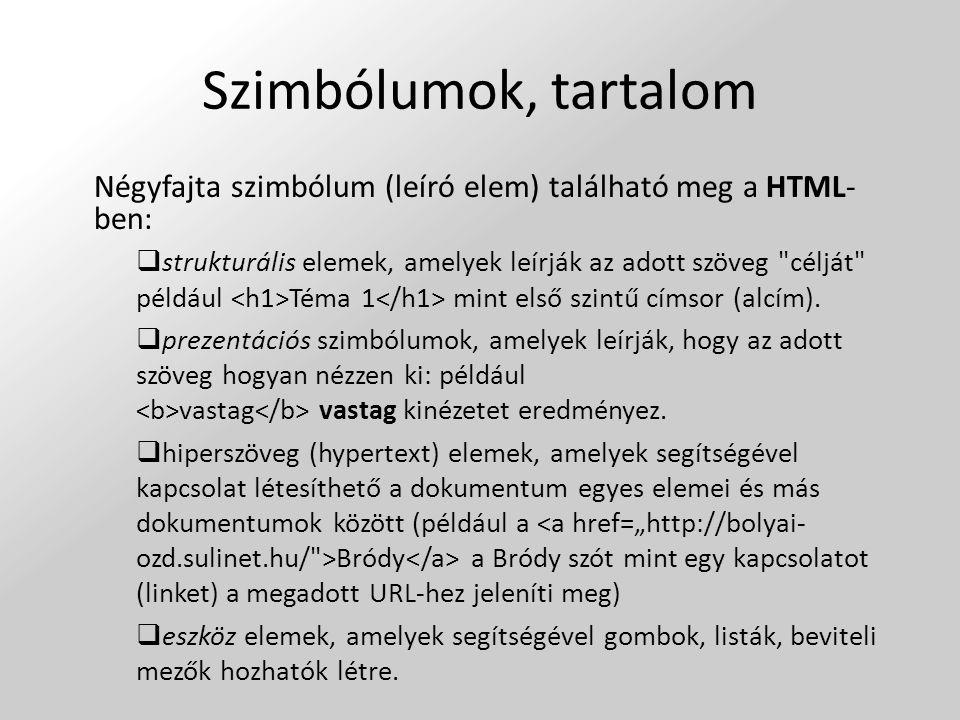 Szimbólumok, tartalom Négyfajta szimbólum (leíró elem) található meg a HTML-ben:
