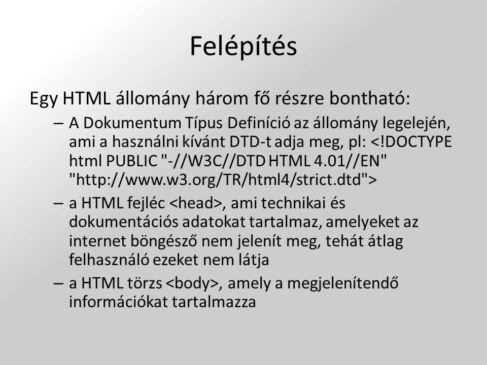 Felépítés Egy HTML állomány három fő részre bontható:
