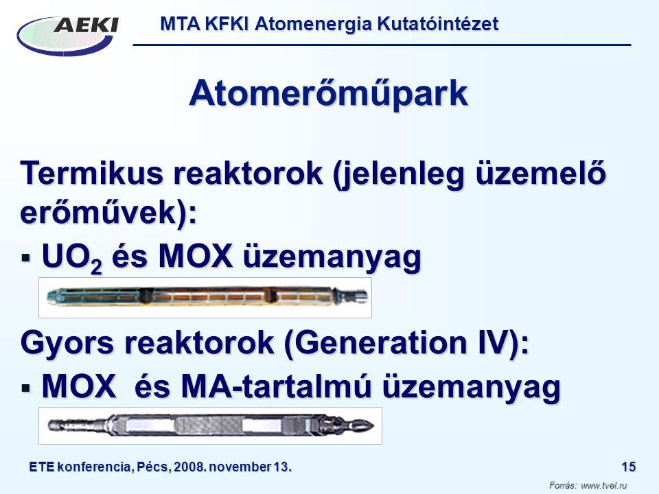 Atomerőműpark Termikus reaktorok (jelenleg üzemelő erőművek):