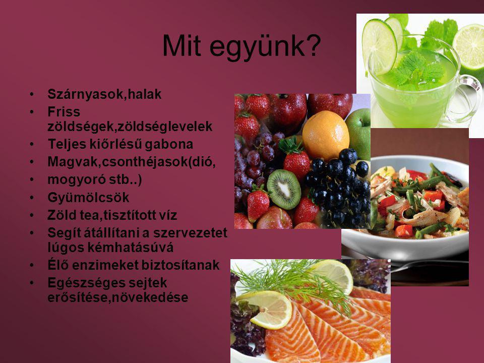 Mit együnk Szárnyasok,halak Friss zöldségek,zöldséglevelek