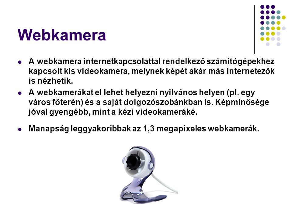 Webkamera A webkamera internetkapcsolattal rendelkező számítógépekhez kapcsolt kis videokamera, melynek képét akár más internetezők is nézhetik.