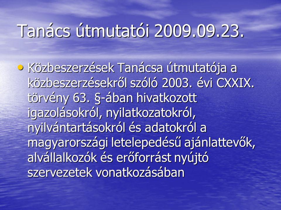 Tanács útmutatói 2009.09.23.