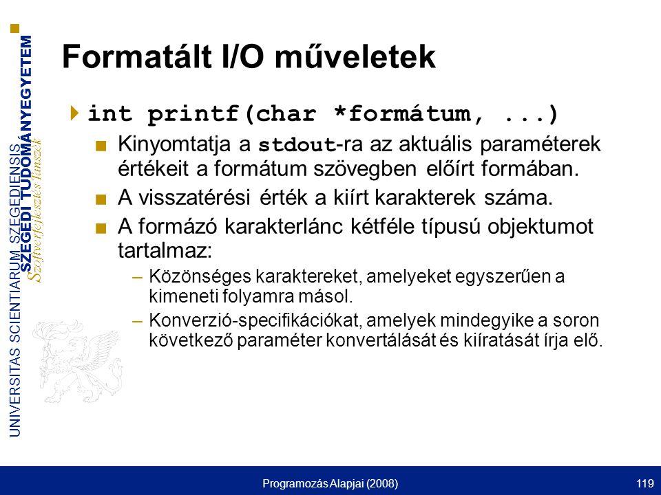Formatált I/O műveletek