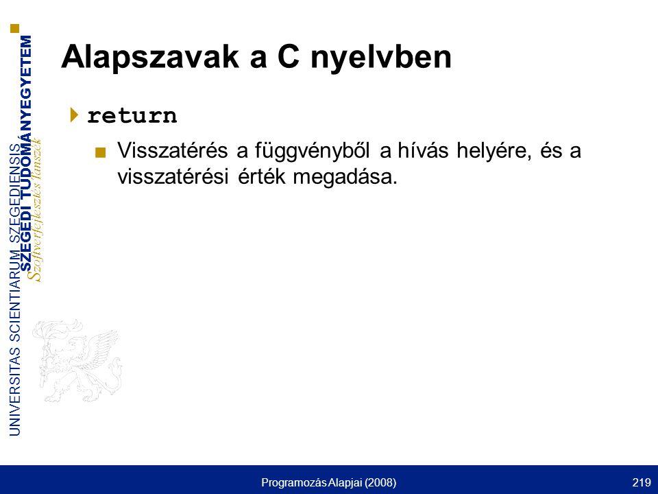 Alapszavak a C nyelvben