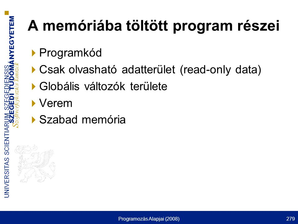 A memóriába töltött program részei