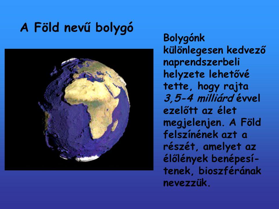 A Föld nevű bolygó Bolygónk különlegesen kedvező naprendszerbeli helyzete lehetővé tette, hogy rajta.