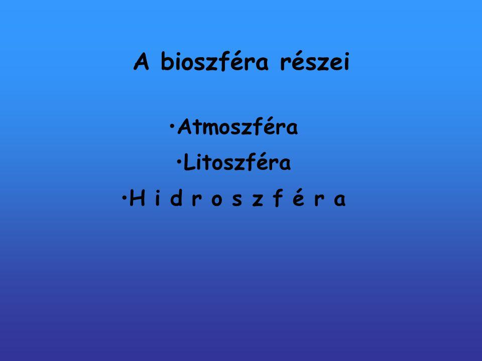 A bioszféra részei Atmoszféra Litoszféra H i d r o s z f é r a