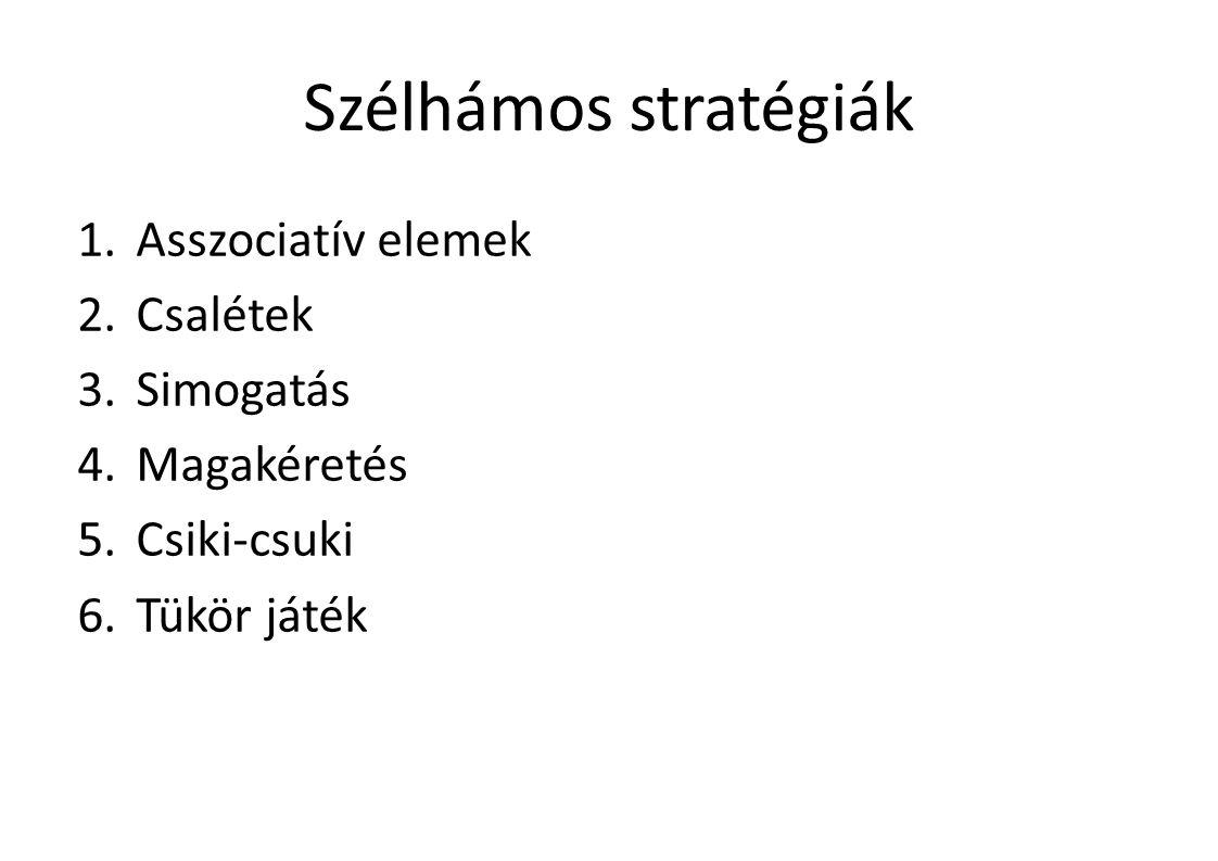 Szélhámos stratégiák Asszociatív elemek Csalétek Simogatás Magakéretés