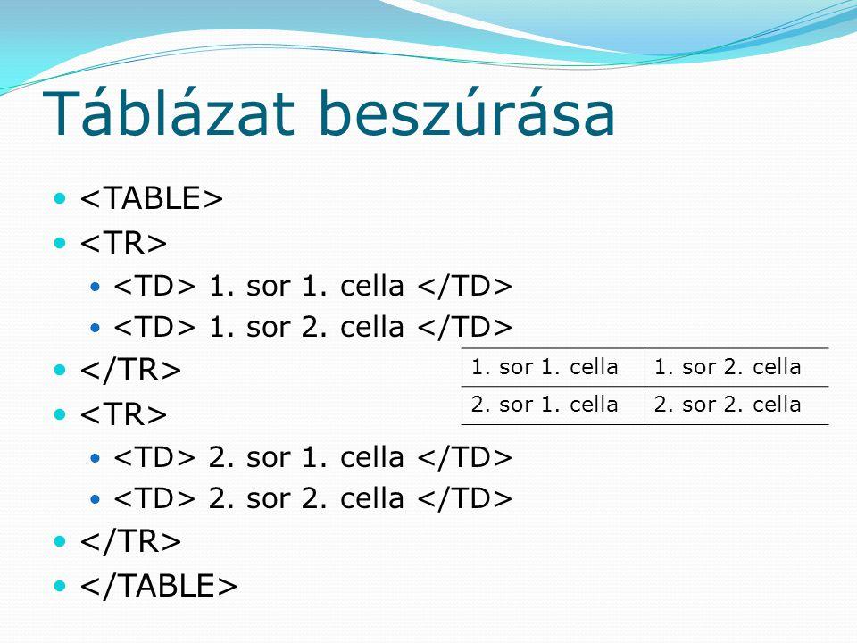 Táblázat beszúrása <TABLE> <TR> </TR> </TABLE>