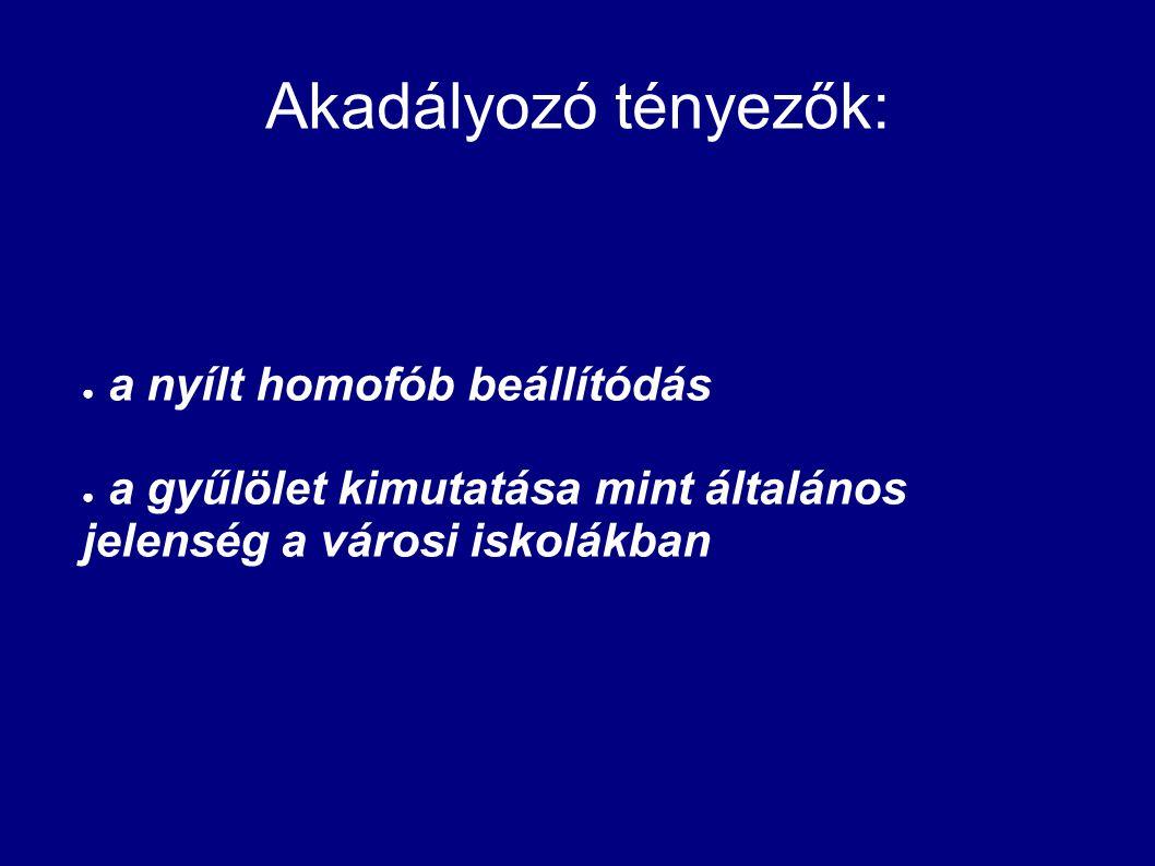 Akadályozó tényezők: a nyílt homofób beállítódás