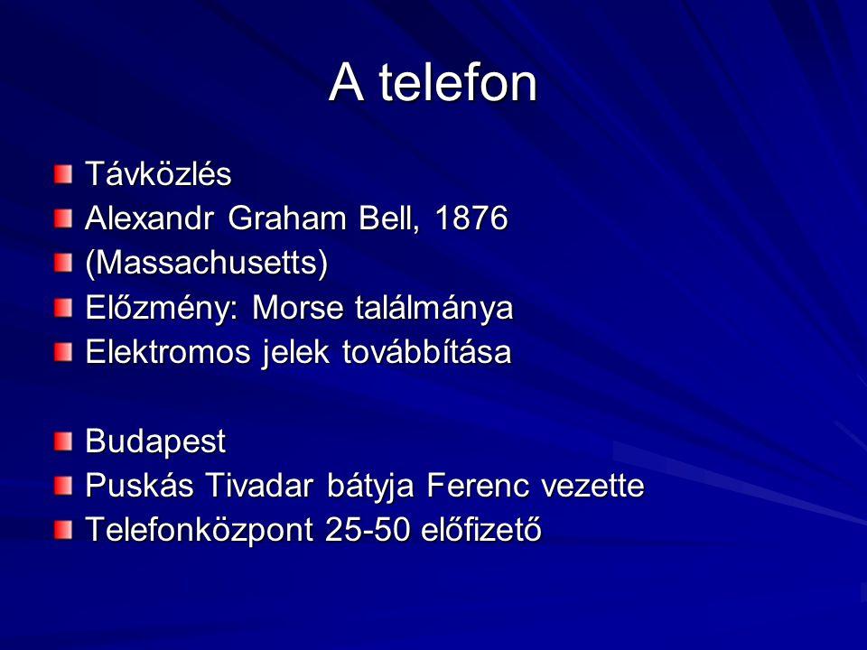 A telefon Távközlés Alexandr Graham Bell, 1876 (Massachusetts)